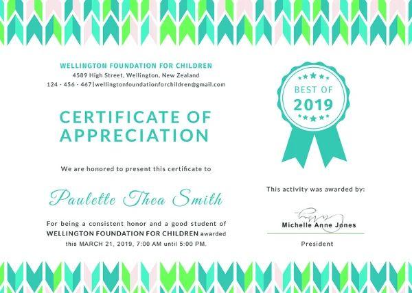 free download certificate of appreciation
