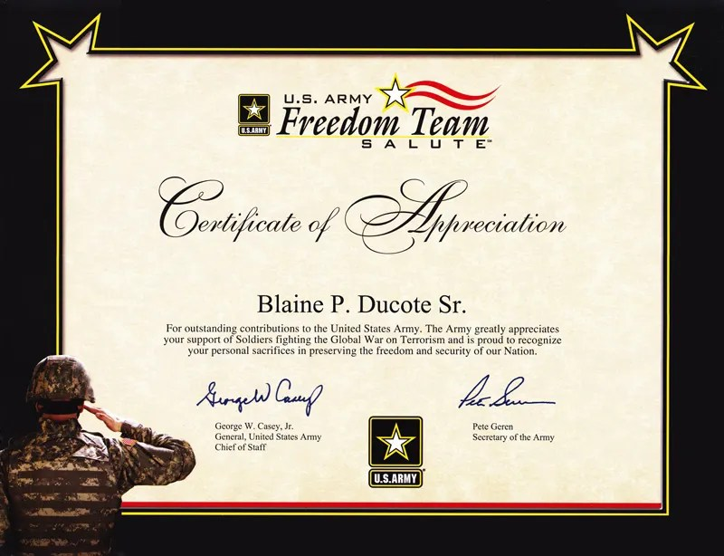 6+ Army Appreciation Certificate Templates - PDF, DOCX Free - military certificate of appreciation template