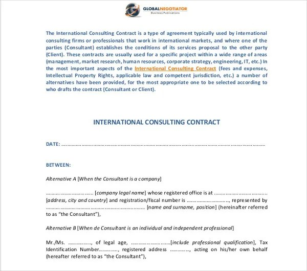 10+ Consulting Contract Templates - PDF, DOC Free  Premium Templates