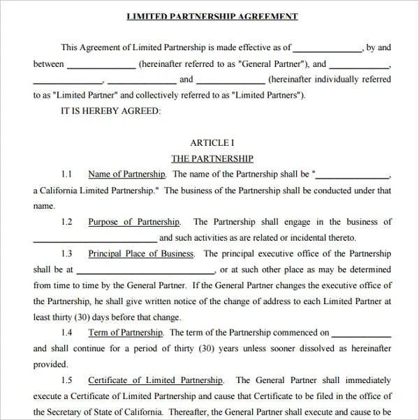 7+ Limited Partnership Agreement Templates - PDF Free  Premium - general partnership agreements