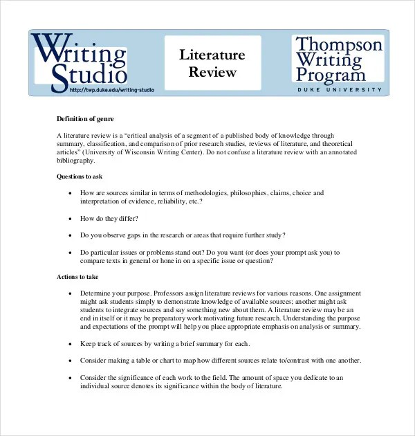 9+ Literature Review Outline Templates, Samples Free  Premium