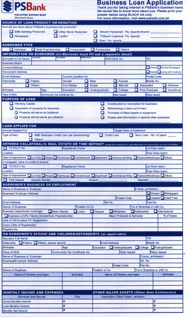 credit application template for business
