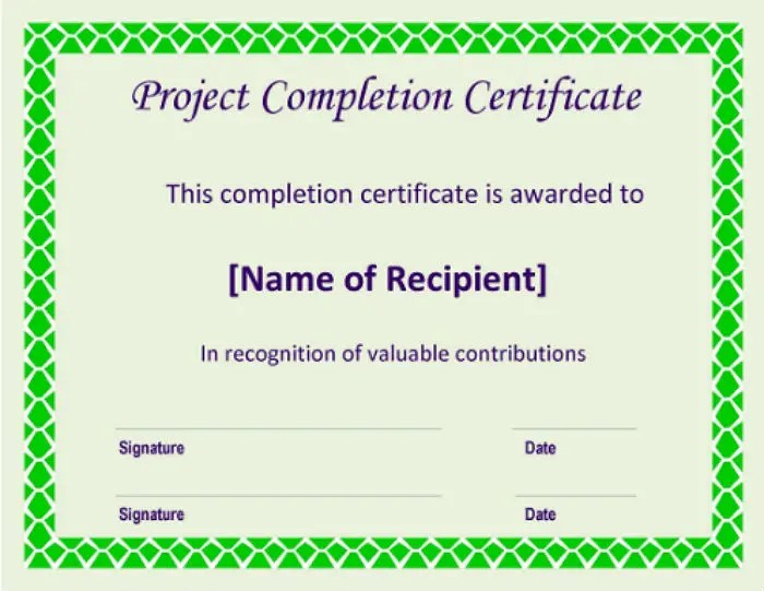 5+ Project Completion Certificate Templates - PDF, DOC Free - certificate for project completion