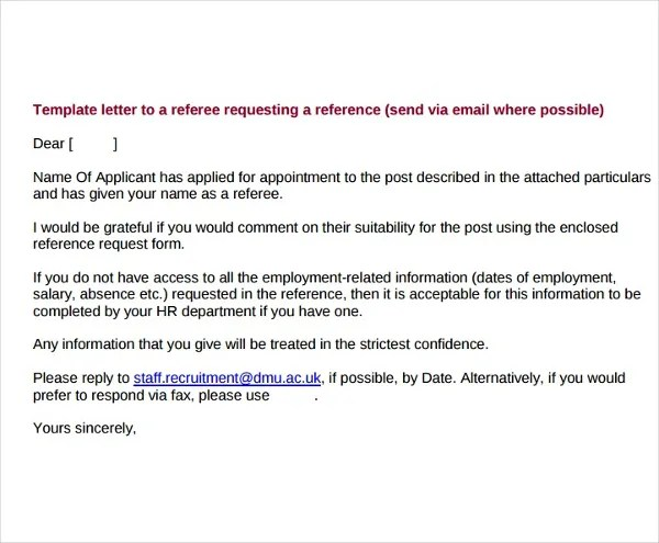 5+ Reference Request Letter Templates - PDF Free  Premium Templates - reference request letter