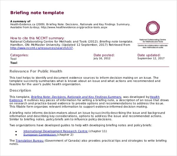 Briefing Note Template oakandale