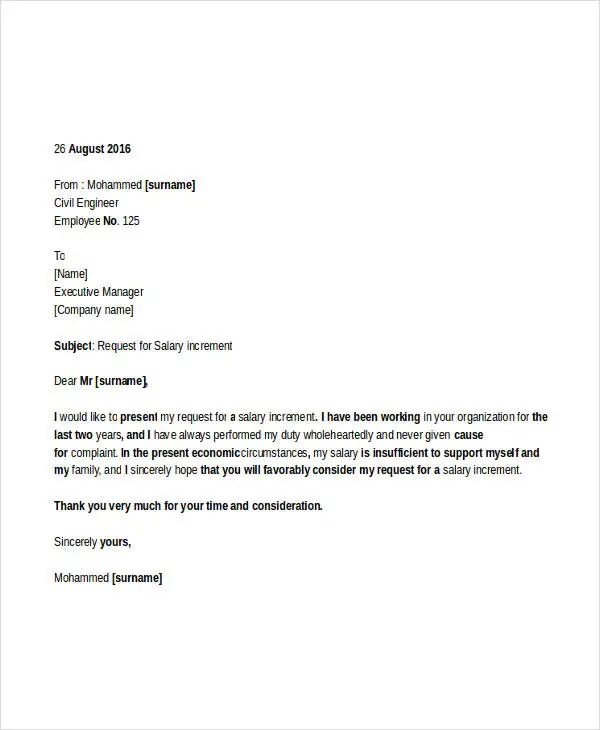 request letter format salary increment request letter format a job