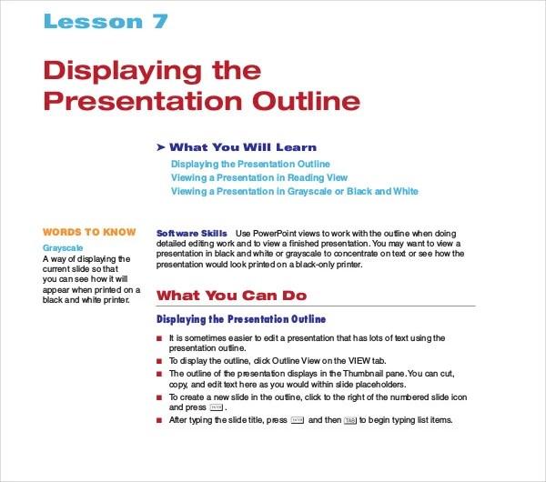 10+ Presentation Outline Templates - PDF, DOC, PPT Free  Premium