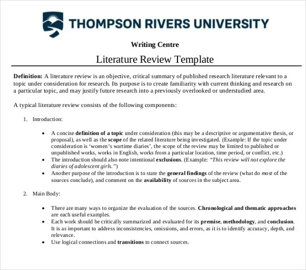 10+ Literature Review Outline Templates - PDF, DOC Free  Premium