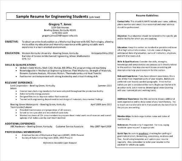 9+ Fresher Engineer Resume Templates - PDF, DOC Free  Premium - mechanical engineering student resume
