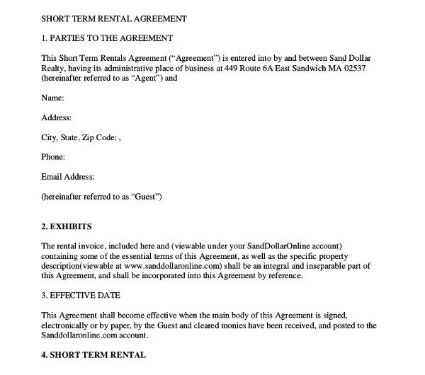 15+ Short-Term Rental Agreement Templates - PDF, DOC Free - Sample Short Term Rental Agreement