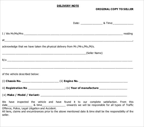 10+ Delivery Note Templates - PDF, DOC Free  Premium Templates