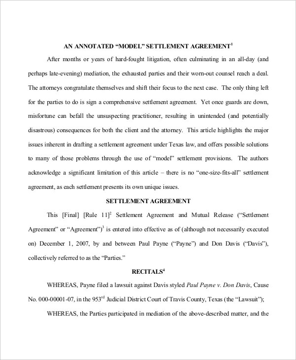 8+ Settlement Agreement Templates - PDF, Google Docs, Apple Pages