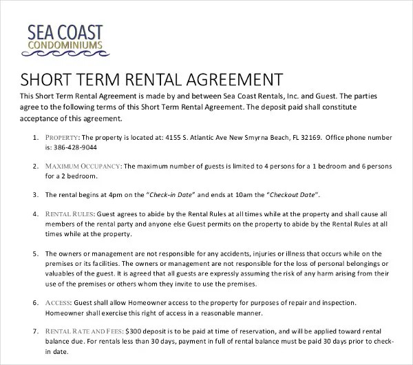 15+ Short-Term Rental Agreement Templates - PDF, DOC Free