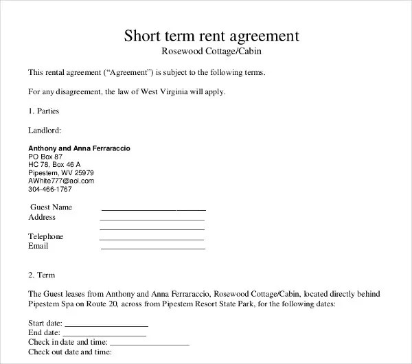 short term rental contract - Onwebioinnovate - Sample Short Term Rental Agreement