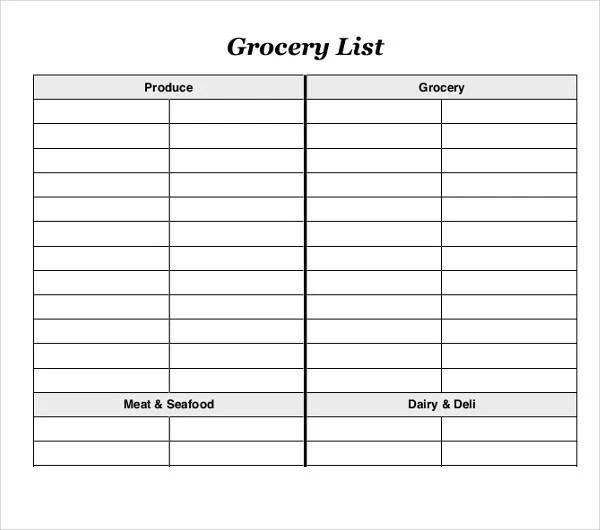 10+ Blank Grocery List Templates - PDF, DOC, Xls Free  Premium