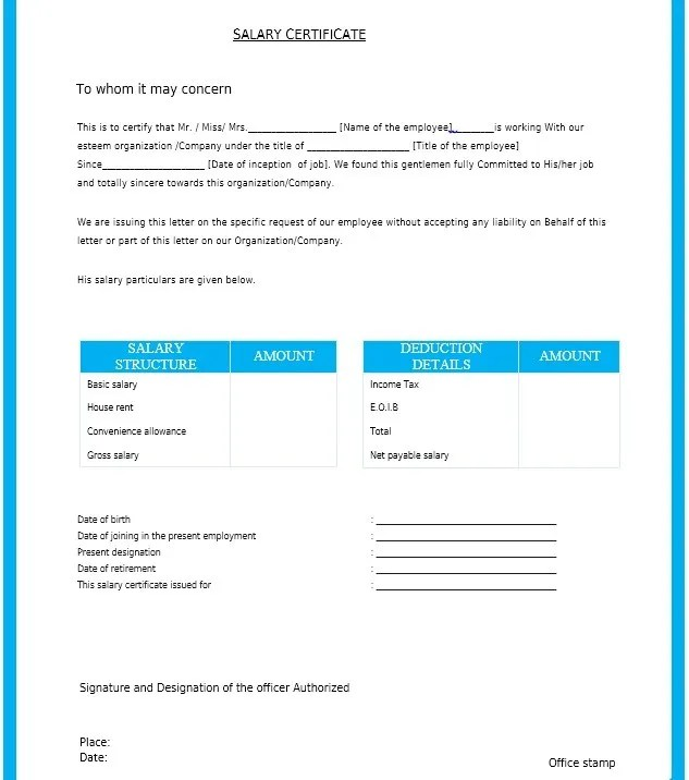 5+ Salary Certificate Templates for Employer - PDF, DOC Free