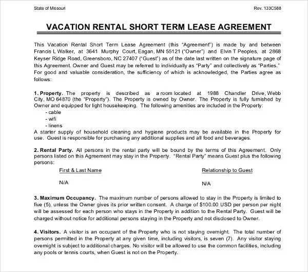 short term rental contract - Selomdigitalsite - rental contract agreement