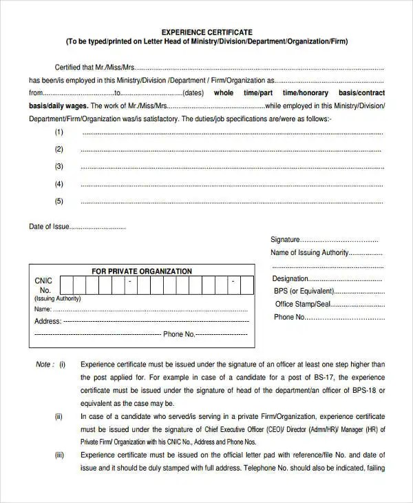 9+ Work Experience Letter Templates - PDF Free  Premium Templates - experience certificate templates
