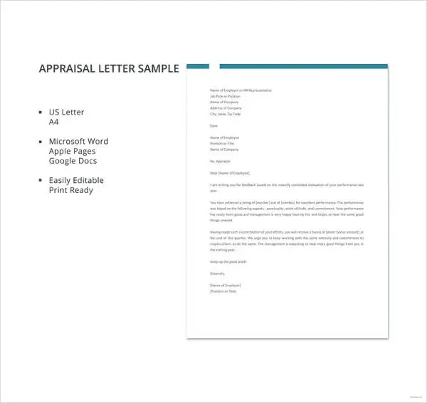26+ Sample Appraisal Letters - PDF, DOC Free  Premium Templates - appraisal form in doc