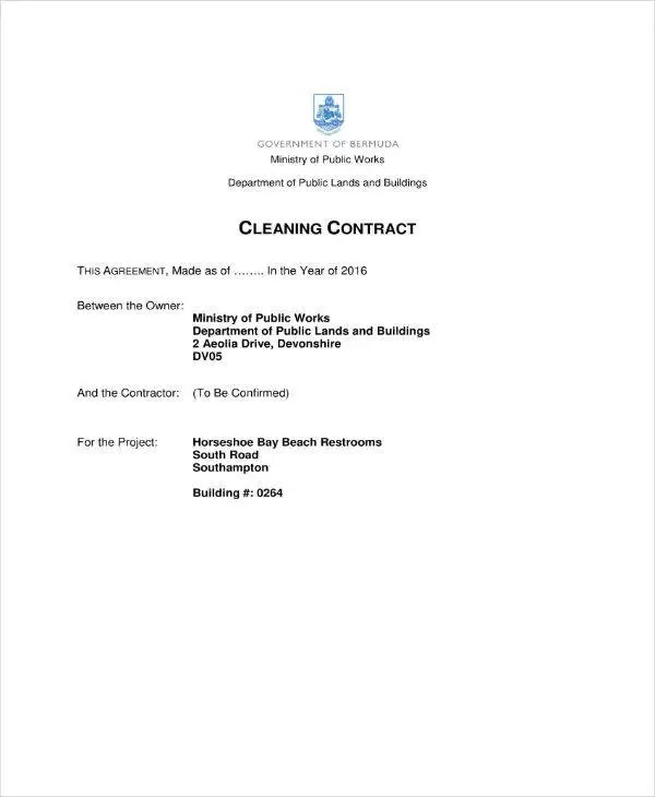 11+ Cleaning Services Contract Templates - PDF Free  Premium - cleaning contract agreement