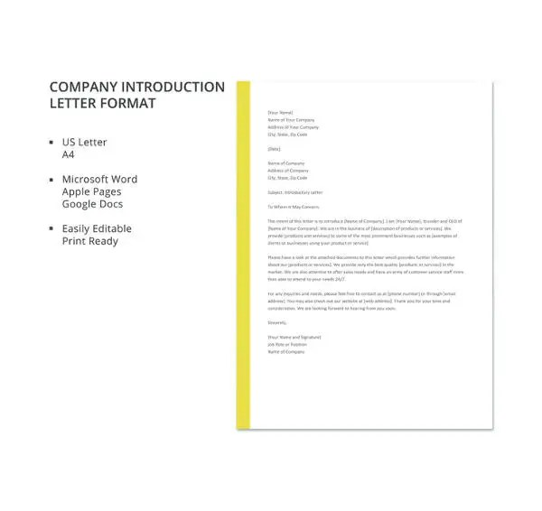 8+ Letter of Introduction Templates - PDF, DOC Free  Premium