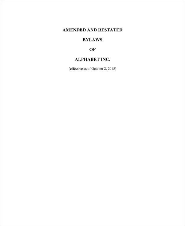 9+ Free Corporation Bylaws Templates - PDF Free  Premium Templates
