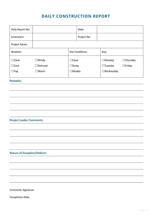 construction daily report sample - Elisdlugopisyreklamowe