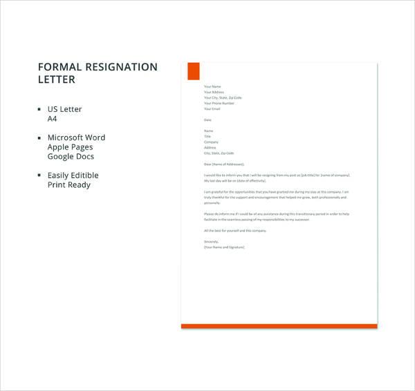 17+ Resignation Letter Examples - PDF, DOC Free  Premium Templates - resignation letter template word