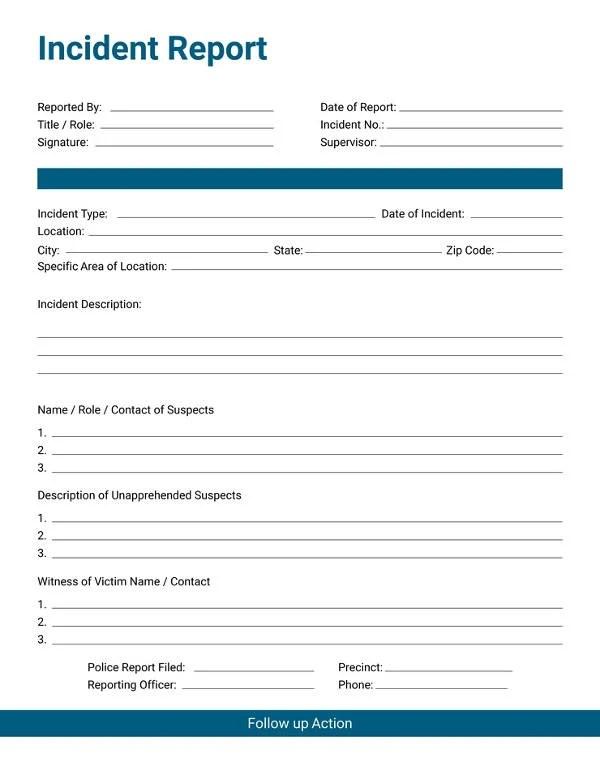 37+ Incident Report Templates - PDF, DOC Free  Premium Templates - free printable incident reports