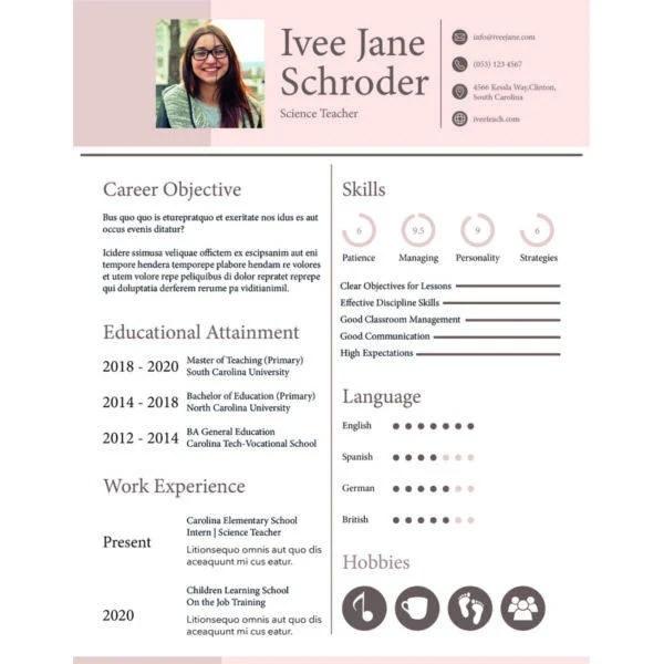 50+ Teacher Resume Templates - PDF, DOC Free  Premium Templates