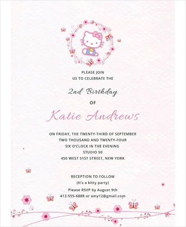 12+ Kitty Birthday Invitation Designs  Templates - PSD, AI, Word