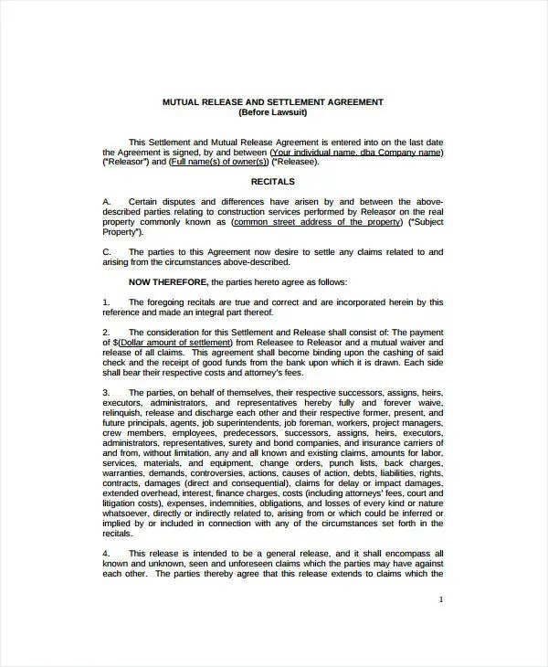 9+ Settlement  Release Agreement Templates - PDF, Word Free