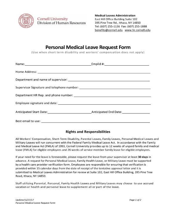 10+ Medical Leave Letter Templates - PDF, DOC Free  Premium Templates - medical leave form