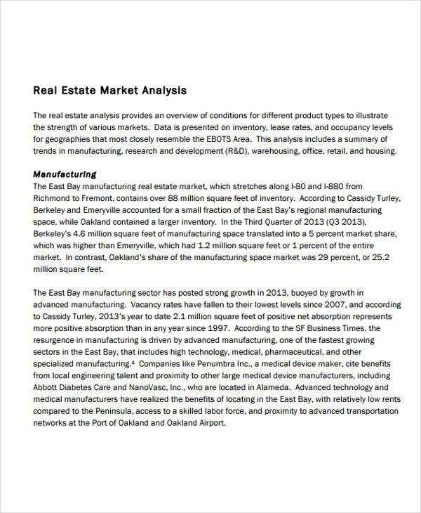 11+ Real Estate Market Analysis Templates - PDF, Word Free