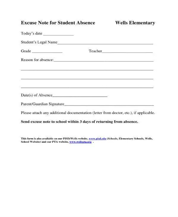 11+ School Excuse Note Templates - PDF Free  Premium Templates