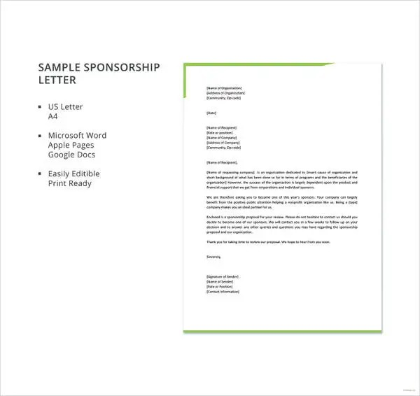 17+ Sample Sponsorship Letter Templates - PDF, DOC, Apple Pages