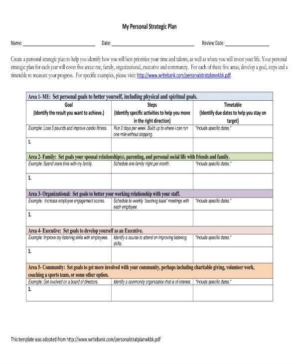 8+ Personal Strategic Plan Templates - PDF Free  Premium Templates