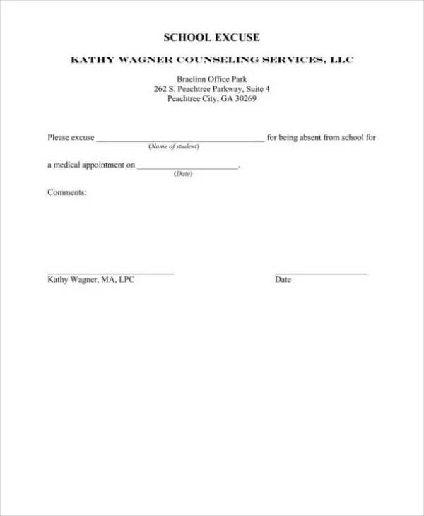 8+ School Excuse Note Templates - PDF Free  Premium Templates