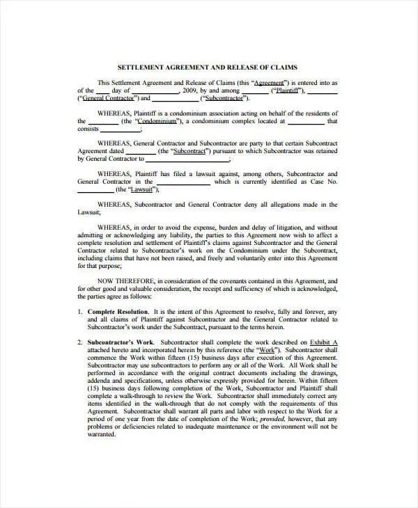Sample Settlement Agreement And Release Barca Selphee Co