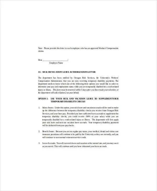 10+ Medical Leave Letter Templates - PDF, DOC Free  Premium Templates - leave authorization form