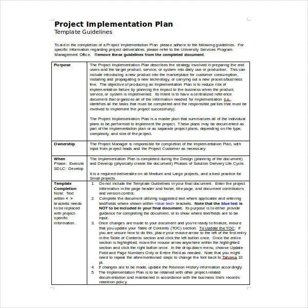 implementation plan templates