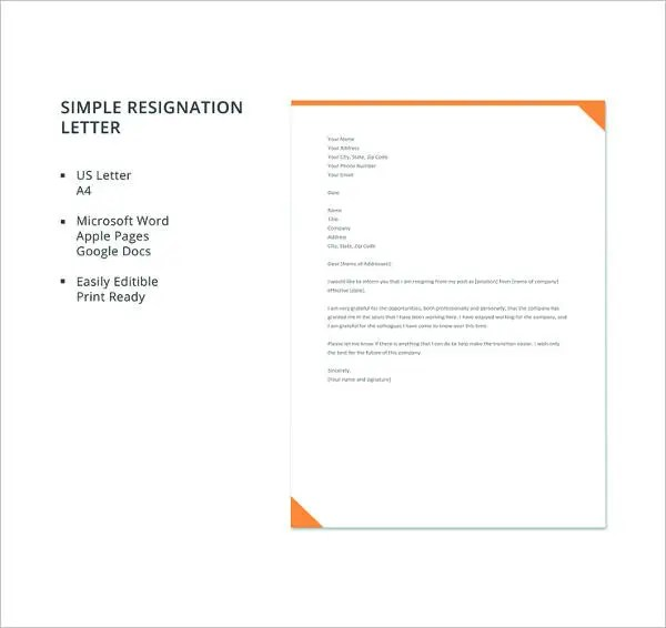 17+ Resignation Letter Examples - PDF, DOC Free  Premium Templates - resignation letter template word