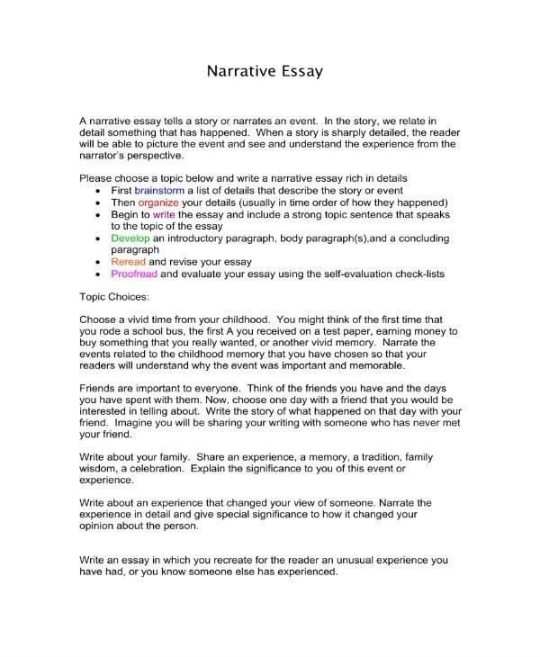 8+ Narrative Essay Templates - PDF Free  Premium Templates