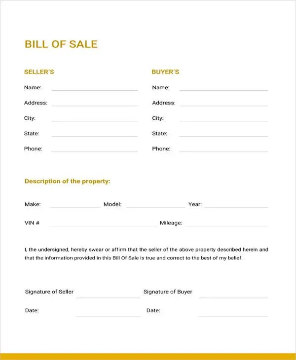 Generic Bill of Sale Template - 12+ Free Word, PDF Document - Printable Bill Of Sale