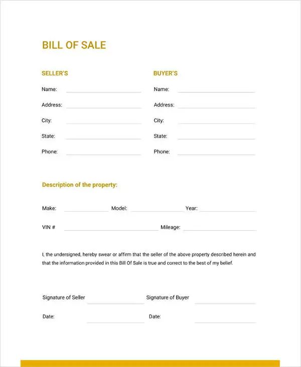 as is vehicle bill of sale template
