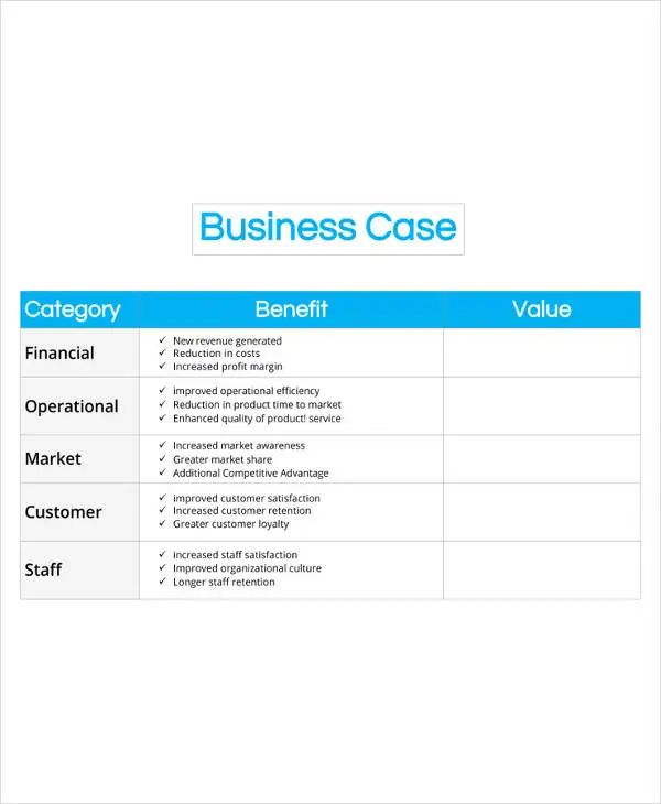 business case one page template