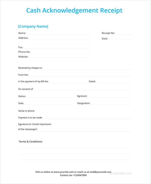 30+ Money Receipt Templates - DOC, PDF Free  Premium Templates - cash acknowledgement receipt