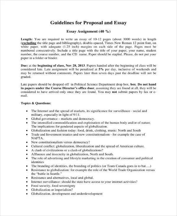10+ Essay Proposal Outline Templates - PDF, DOC Free  Premium