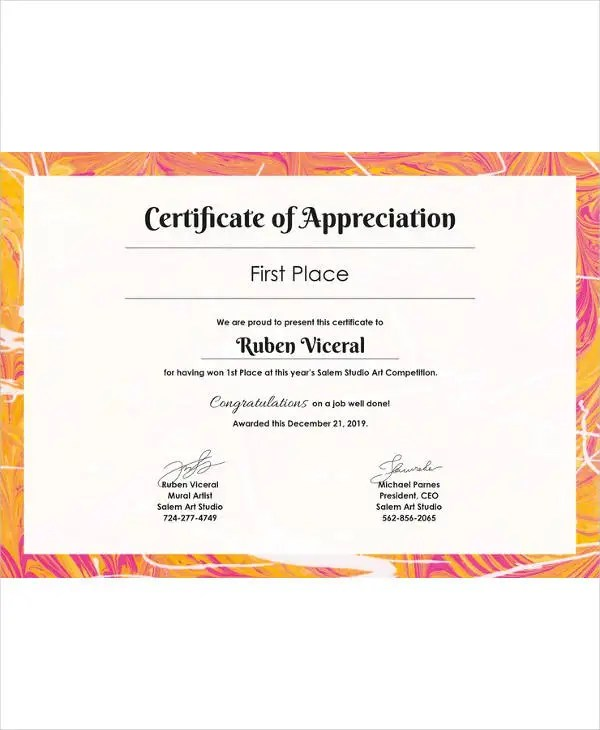 Certificate Template - 45+ Free Printable Word, Excel, PDF, PSD - 1st place certificate template