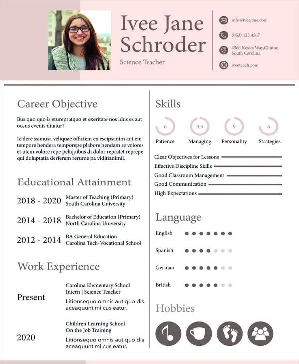 teacher resume sample free download